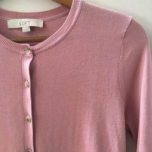LOFT rose fine knit button front cardigan